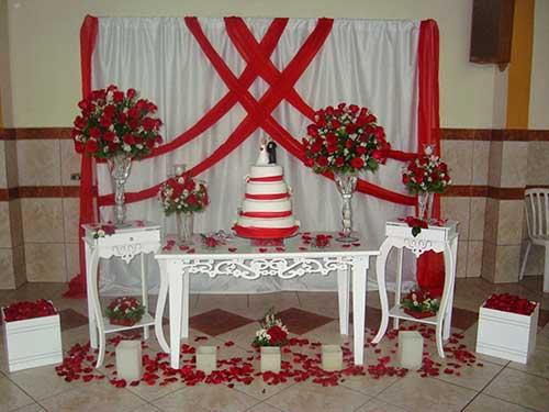 decoração de casamento Vermelho e branco doce