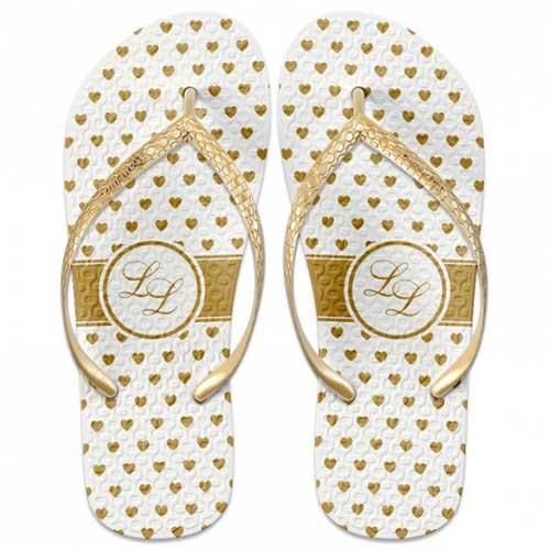 branco e dourado Chinelos personalizados