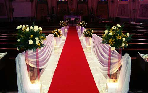 Decoração de casamento Vermerlho e branco tapete