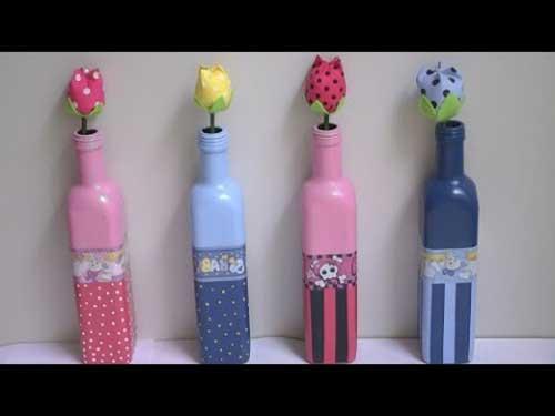 garrafas decoradas para mesa de casamento