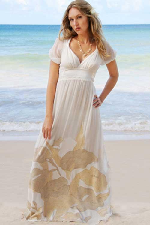Vestido simples de casamento na praia