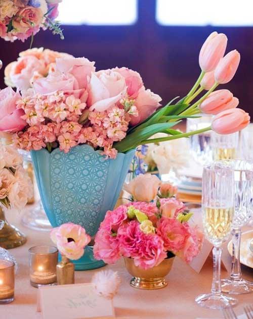 decoração de casamento azul e rosa