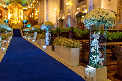 decoração de casamento Azul igreja