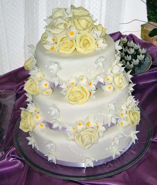 Top Bolo de Casamento com Chantilly Quadrado e Redondo WM75