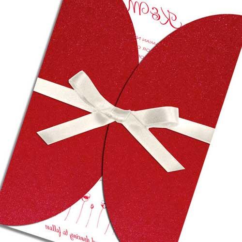 Noivado Vermelho E Branco Festa Decoração Convite