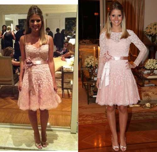 Vestido de noivado rosa de renda