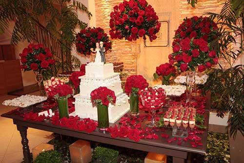 Decoração de casamento Vermelho bolos
