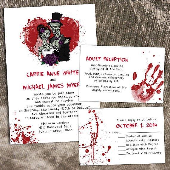 convites de casamento zumbi
