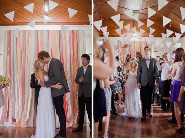 casamento com bandeirinhas decorativas