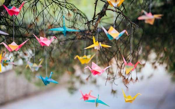 origamis na decoração de casamento