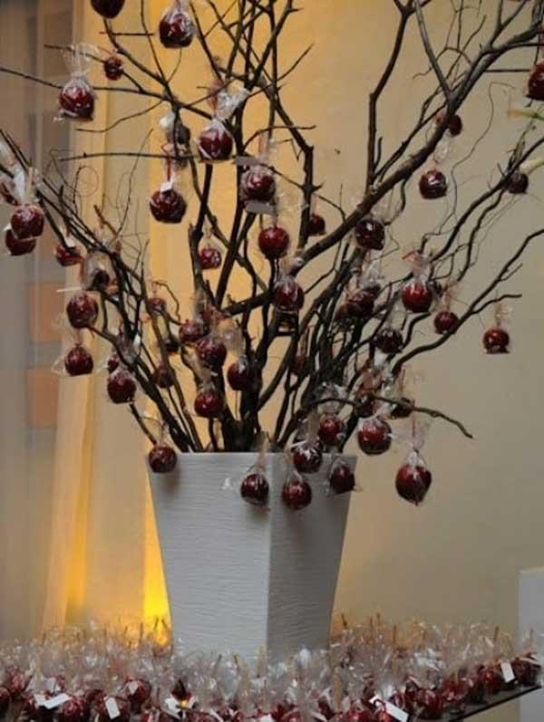 em vaso com maçã do amor